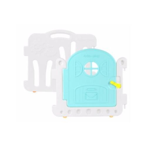 Edu.play 自由組合圍欄配防滑墊 1塊薄荷藍門板+1塊白色長板