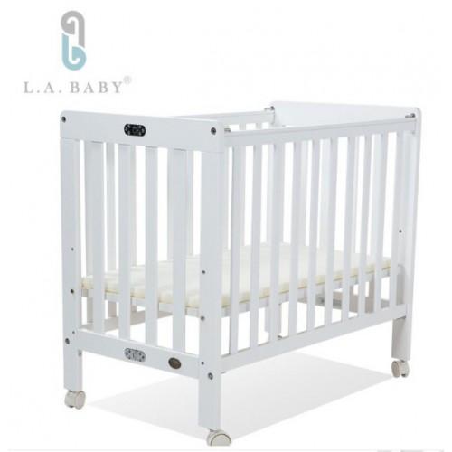LA Baby  摺疊式嬰兒木床 (白色)