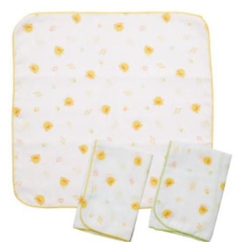 黃色小鴨印花紗布手帕3入