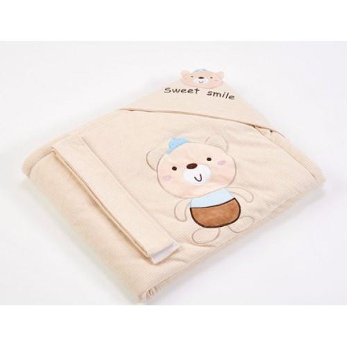 Lenny World  嬰兒針織抱被 -快樂小熊