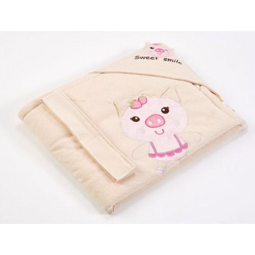 Lenny World  嬰兒針織抱被 - 可愛小豬
