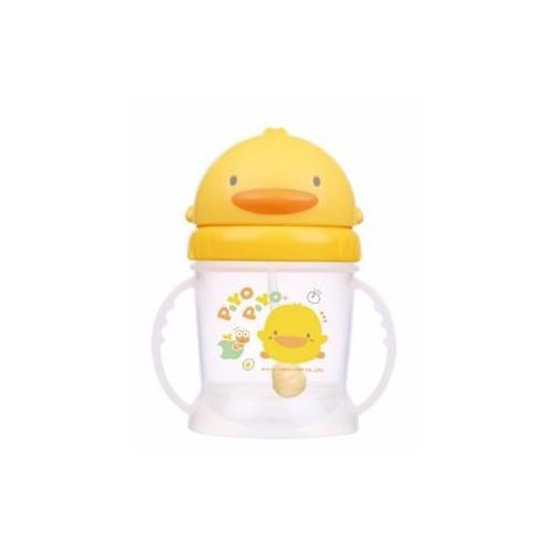 黃色小鴨 自動吸管360度PP滑蓋練習杯250ml