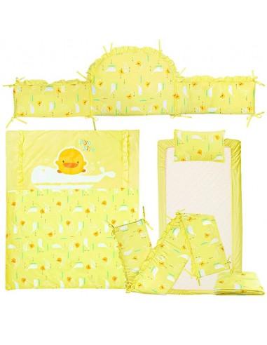 PIYOPIYO黃色小鴨 安睡彩繪海洋純棉抗敏七件被套裝