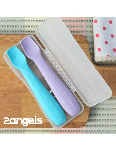 2Angels 矽膠餵食湯匙 (2入連收納盒)