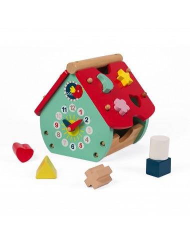 Janod - 寶寶益智認知屋- 時鐘形狀顏色認知- 幼稚園面試玩具