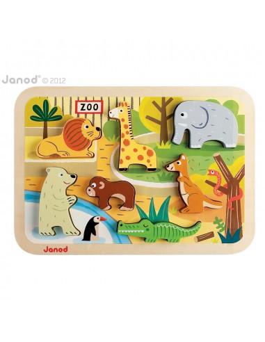 Janod - 幼兒木製拼圖 - 動物園 - 幼稚園熱門面試玩具